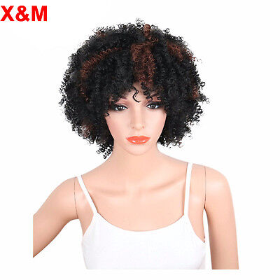 Synthetic Short Black Brown Curly Wigs For Black Women Afro kinky curly bob wig
