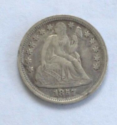 1857 Seated Liberty Silver Dime - VF++