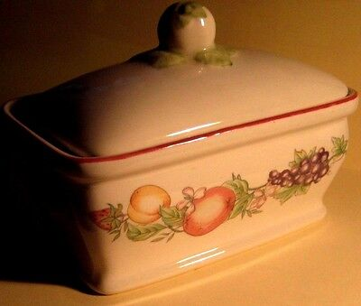RARE BOOTS HAND PAINTED ORCHARD LIDDED BUTTER DISH about 6 x 4 x 4""