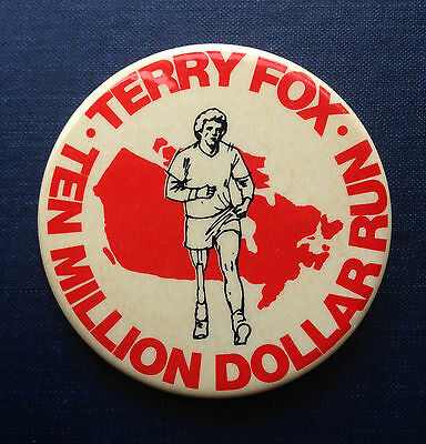 TERRY FOX Ten Million Dollar Run Marathon of Hope Vintage 1980's Pinback Button