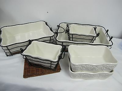 Temptations Presentable  Ovenware Tara White 16 Pcs Stands +  White Embossed