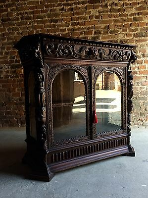 Fabulous Antique Victorian Carved Oak 19th Century Glazed Cabinet