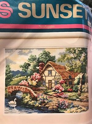 Cottage Hideaway Sunset Needlepoint Kit 12074 Carl Valentine Dimensions 1992