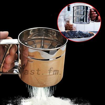 Stainless Steel Flour Sifter Shaker Sugar Cocoa Chocolate Sprinkler Sieve New