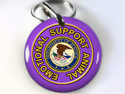 Emotional Support Animal service dog ADA eggplant dog cat custom pet tag ID4PET