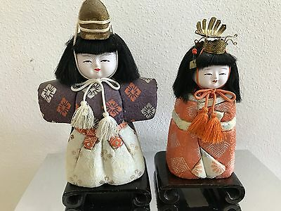 Antique Vintage Set of Japanese Kimekomi Dolls With Stand