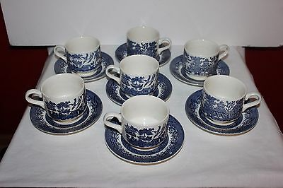 Set of 7 Vintage Churchill England Blue Willow Tea/Coffee Cup & Saucer