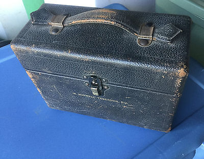 Vintage Traveling Doctors Hard Shell Case Green Velvet Leather Metal Eagle Lock
