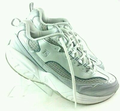 TS Thera Shoe Leather Comfort Walking Athletic Womens Size 11M White Gray