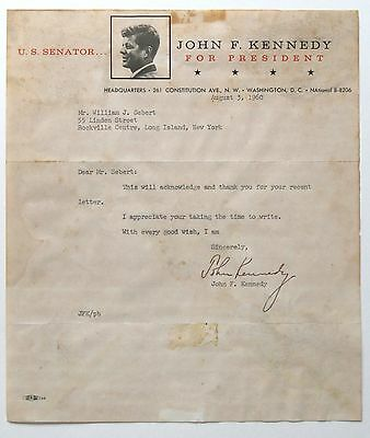 John F Kennedy typed letter signed as a US Senator for President, with envelope