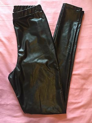 M&S High Waist Leather Look Leggings Size 8