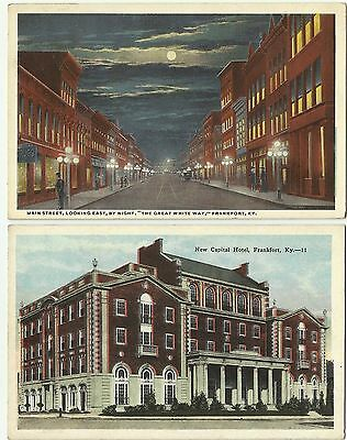 Main Street and New Capital Hotel, Frankfort, Kentucky (two postcards)