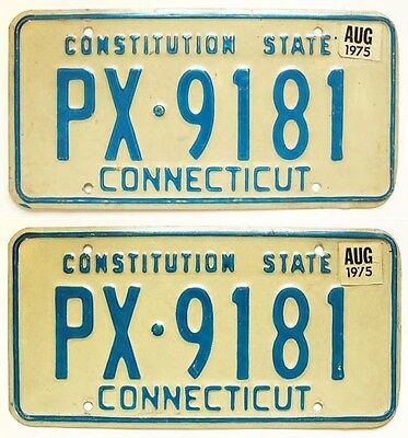 Vintage Connecticut 1975 License Plate Pair, PX-9181, Nice Quality