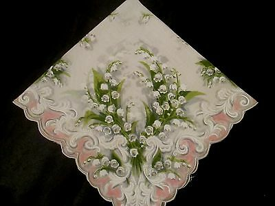 Vintage unused white Lily of the Valley with pink border hanky