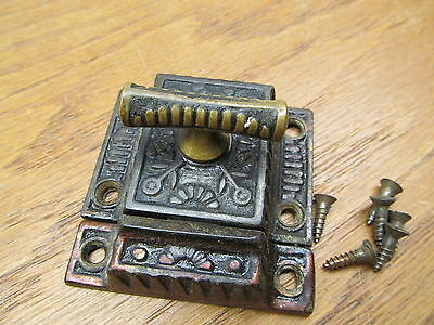 "Old Eastlake ?? Brass ?? Bronze ?? T Handle Cupboard Latch Lock "" As Found """