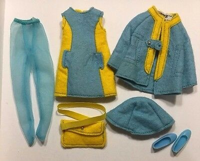 vintage Barbie's Skipper All Over Felt Outfit #3476 Complete Purse Stockings mod