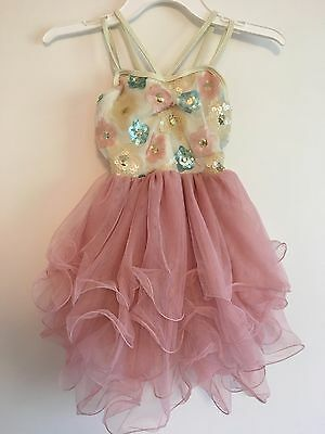 Dusty Pink Rose Cream Sequin Flower Ballet Lyrical Dance Costume Child IC