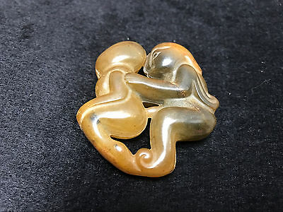 China 100% natural old jade pendant, hand-carved amulet Double people Pendant