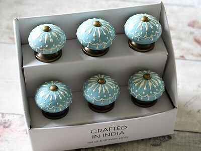 SET of 6 Moroccan Duck Egg Blue White Painted Luxury Door Pull Knobs Handle