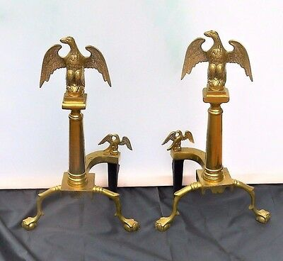 Vintage Harvin Co Brass and Cast Iron Eagle Fireplace Andirons Fire Dogs