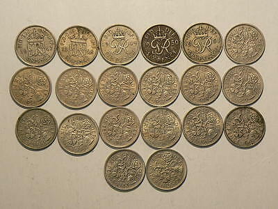Great Britain, Lot Of 20 Six 6 Pence Coins 1947 to 1967  #6703