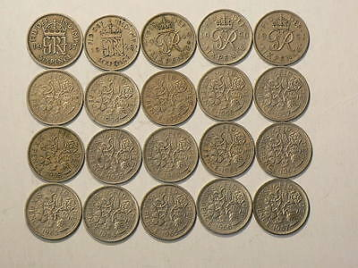 Great Britain, Lot Of 20 Six 6 Pence Coins 1947 to 1967  #6705