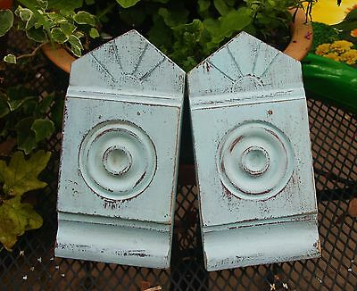 Pair Rare SUNRISE Architectural Salvage Wood Door Window Plinth Block Pediment