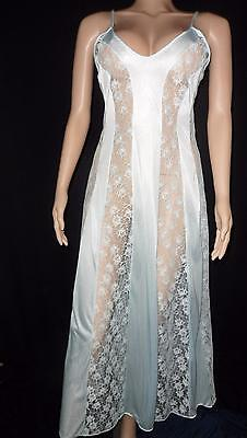 Vtg Blue LONG NIGHTGOWN LARGE L LOTS OF LACE INSERTS SHEER Nylon Gown