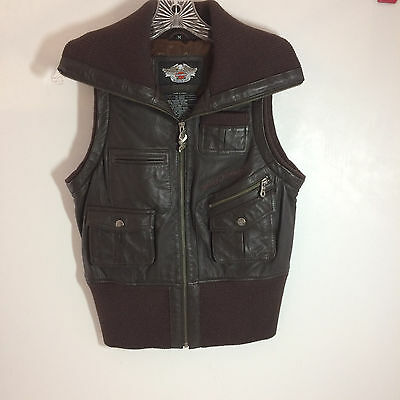 Harley Davidson Womens Lined Leather Vest with Knit Collar/Waist NICE Size M