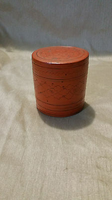 "Vintage/Antique Burmese Red Lacquer Wood Hand Painted Box 3""X2.5"""