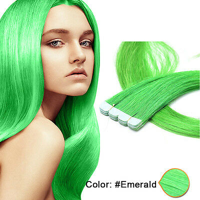 20 Inch Remy Real Straight Tape in Weft  Human Hair Extensions 10 pcs Emerald