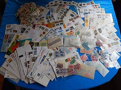 Massive Vintage Stamp and Coin Collection 1000's Stamps US & Worldwide 1-3/4 lb.