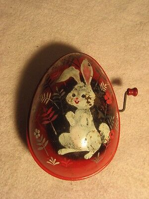 Vintage Mattel Musical Tin Litho Easter Egg 1953 Mary Had A Little Lamb Working