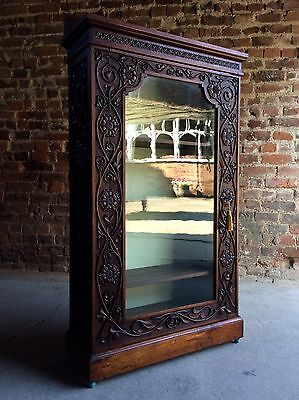 Fabulous Antique 19th Century Glazed Carved Mahogany Bookcase