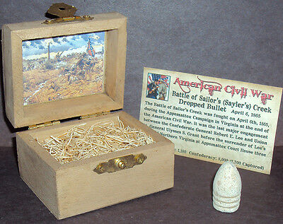 Civil War Bullet with Display Chest! Battle of Sailor's Creek, VA 1865
