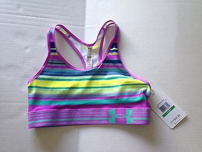 *UNDER ARMOUR* *NWT* Girl's Youth Large Bright Striped Sports Bra MSRP $24.99