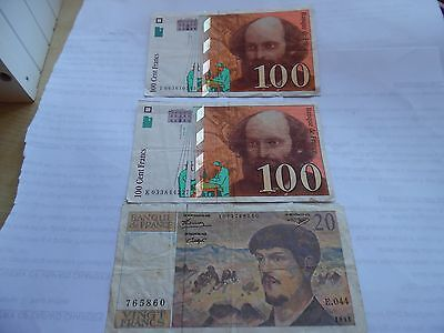 THREE FRANCE  BANKNOTES - 2 x 100 & 1 x 20 Francs