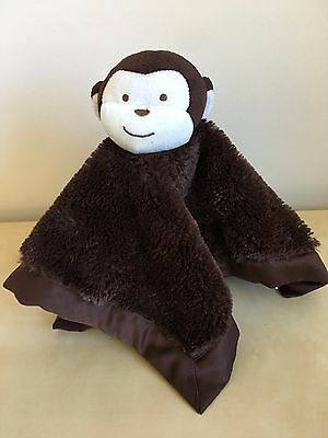 Kidsline Dark Brown Monkey Baby Blanket Plush Furry Satin Security Lovey HTF
