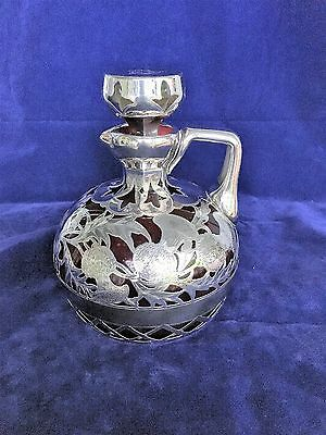 Antique heavy sterling silver overlay on red glass presentation decanter
