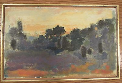 """Vintage impressionist/abstract landscape oil painting on canvas 10x16""""/framed"""