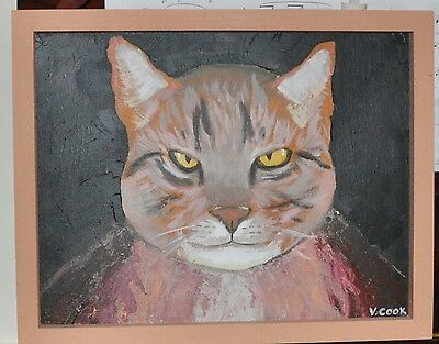 Cat Portrait Painting Vic Cook Cat in Invisibility Cloak that is not  working