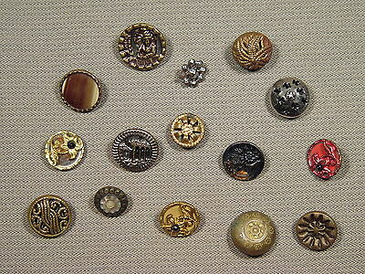 15pc Mixed Lot Antique Victorian Metal Buttons Small A
