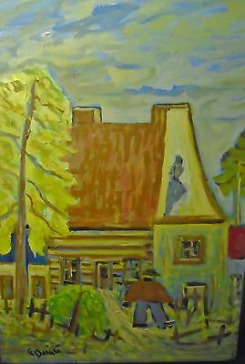 Canadian-Quebec FOLK ART  Painting by  Known Quebec Artist Alfred Berube