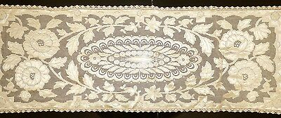 Vintage Ecru Lace Table Runner Floral Pattern on Mesh Lace