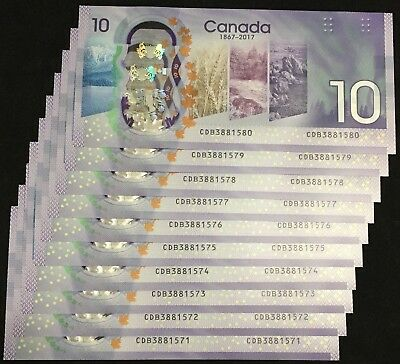 2017 Canada 150 Anniversary Commemorative 10$ Polymer Bill (Lot of 10, Consec)
