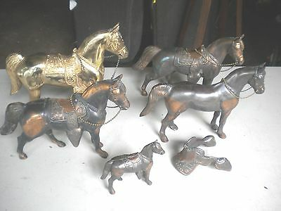 Lot of 5 Vintage Metal  Hollow Horses with Reins