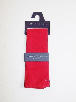 Tommy Hilfiger Men's Pocket Square Handkerchief 100% Red NWT Size 13.5""
