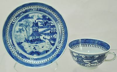 Antique Nanking Blue and White Chinese Export Cup and Saucer c 1900
