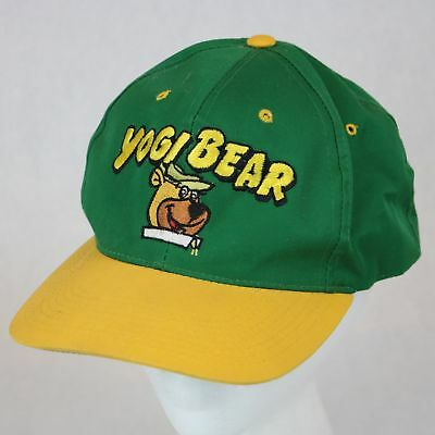Vintage 1993 Hanna Barbera Yogi Bear Green Yellow Snapback Hat Cap