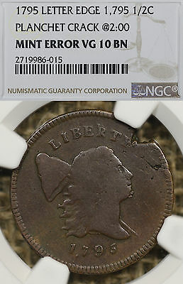 1795 NGC VG10 Puctuated Date Lettered Edge Liberty Cap Half Cent 1,795 Error LE